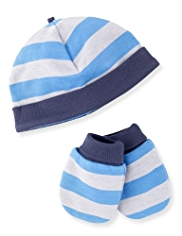 2 Piece Cotton Rich Hat & Mittens Set