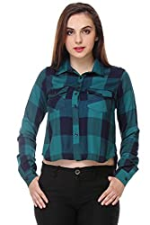 PURYS Green Check Crop Shirt - Large