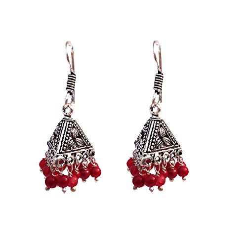 Kaizer Jewelry HandiCraft HandMade High Quality German Silver Jhumki in 4 colors beads (Better than Oxidized) Jhumka For Women / Girls (Gift) (Red)  available at amazon for Rs.199