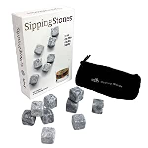 Sipping Stones - Set of 9 Grey Whisky Chilling Rocks in Gift Box with Carrying Pouch - Made of 100% Pure Soapstone