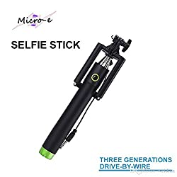 ASCENSION Mobile Phone Monopod Three Generations Extendable Selfie Stick Handheld Self-timer Self-pole Wired Control Monopod for iPhone, Samsung, IOS, Android