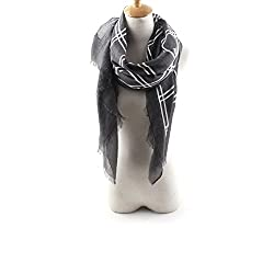 AngelShop Women Embroidered Grid Printed Encryption Scarves Shawl BYWJ