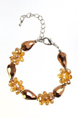 Three Strand Metallic Copper and Gold Crystal Bracelet,20Cm