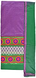 Hiya Women's Chanderi Long Unstitched Dress Material (Rose_2, Violet)
