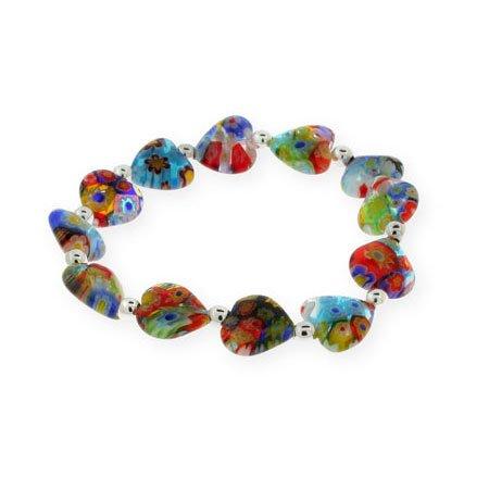 Sterling Silver Millefiori Venetian Glass Heart Bracelet