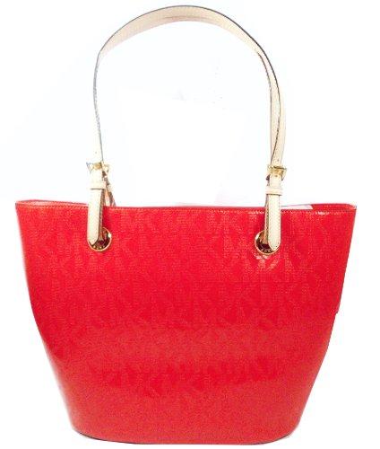 Michael Kors Logo Jet Set Lg Patent Leather Tote Bag Purse Mandarin Red