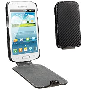 Carbon Fiber Style Vertical Flip Leather Case for Samsung Galaxy Trend Duos / S7562 (Black)