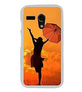 Girl with Umbrella 2D Hard Polycarbonate Designer Back Case Cover for Motorola Moto G :: Motorola Moto G (1St Gen)