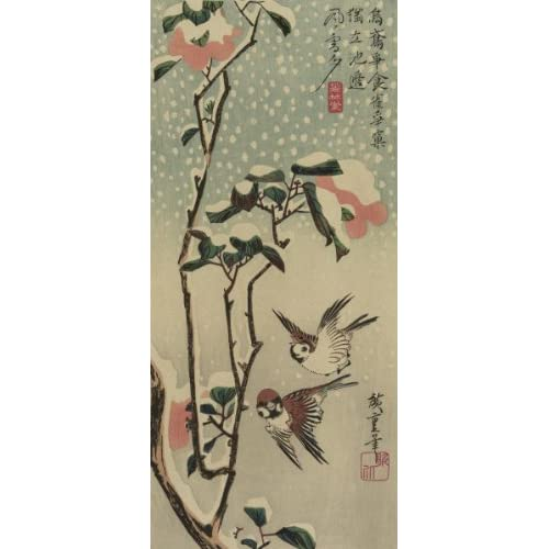 Sparrows and camellias in snow., 1840 (Art Print, Stretched Canvas or Unstretched Canvas)