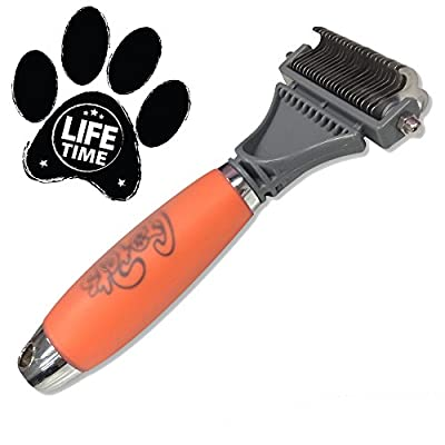 Dematting Comb for Cats & Dogs by GoPets [67% OFF MSRP This Week ONLY Father's Day Sale] | Professional Grooming Tool | Brush is Perfect for Small Medium & Large Breeds with Medium & Long Coats | Detangle All Mats & Tangles with the Best Double Sided Rake