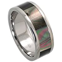 Titanium 8 mm (5/16 in.) Wedding Band Ring w/ Mother of Pearl Inlay (Available in Sizes 8 to12)