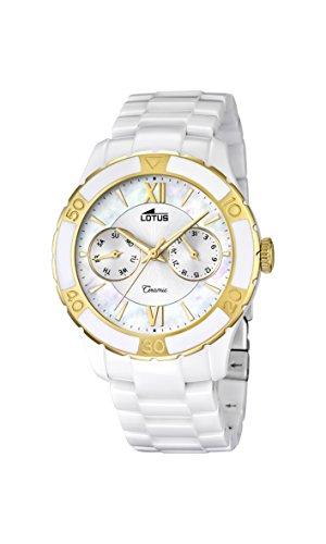 370cb8ef042a Lotus Reloj de cuarzo para mujer con color blanco esfera analógica pantalla  y blanco pulsera de