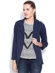 VAAK Women's Navy Blue Lace Jacket 100% Cotton(L)