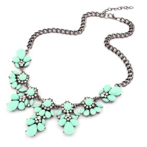 amtonseeshop Latest Popular 1PC Vintage Flower Crystal Bubble Bib Choker Statement Women Necklace (Light Green)