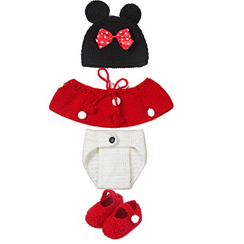 Elee 4pcs Baby Crochet Mouse Photography Props Costume Shoes & Hat & Skirt