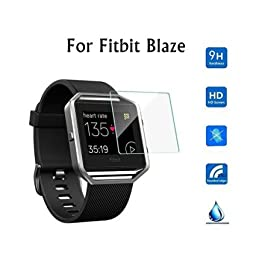 iGK Screen Protector for Fitbit Blaze Smart Watch, Tempered Glass, 2.5D Round Egde, HD Ultra Clear Film - 3 Count