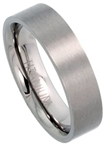 Titanium 6mm Flat Wedding Band Ring Matte finish Comfort-fit, size V 1/2
