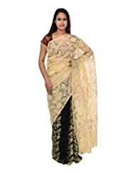 A1 Fashion Women Brasso Off-White Saree With Blouse Piece