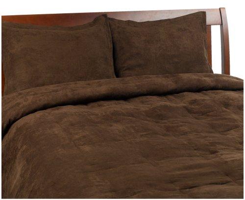 Microsuede Feather Full/Queen Comforter Set, Chocolate