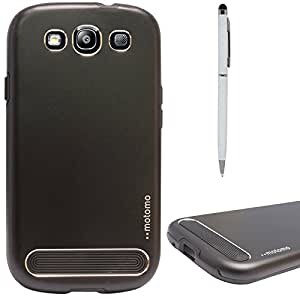 DMG Motomo Ultra Tough Metal Shell Case with Side TPU Protection for Samsung Galaxy S3 / S3 Neo (Black) + Pen Stylus