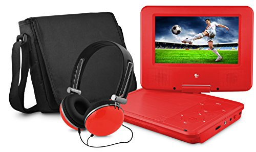 DVD Player, Ematic 7 inch Swivel Red Portable DVD Player with Matching Headphones and Bag [ EPD707RD ]