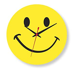 Smiley Face Yellow Clock Large Wall Clocks