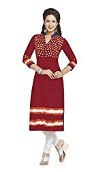 AMP IMPEX Ethnicwear Women's KURTI FABRIC RED_Free Size