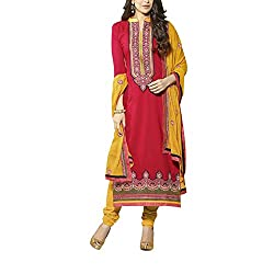 Destiny Enterprise Embroidered Cotton Unstitched Party Wear Pink Color Dress Material for Women