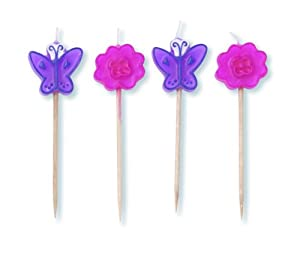 Garden Fairy Pick Party Candles (4 in Pack) from Party Bags 2 Go