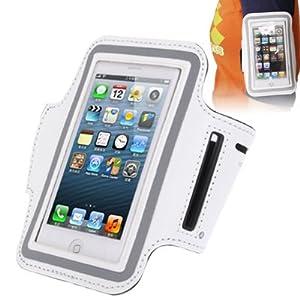 Brassard sport tour de bras blanc haute qualité pour iphone 5 et iphone 5S idéal pour les sportifs, course à pied ou salle de sport avec trous pour écouteurs, bande réflechissante et pochette pour clé.