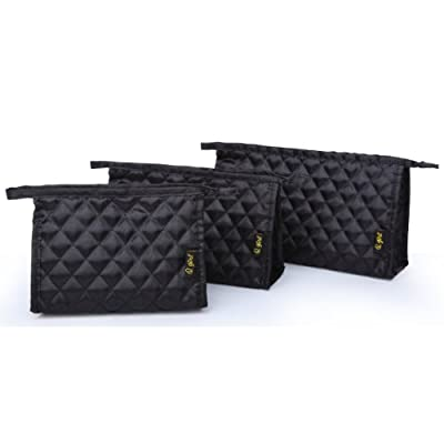 3-piece Black Diamond Quilted Satin Polyester Top Closure Loop Handle Travel Pouch Toiletry Container Accessories Organizer Cosmetic Case Makeup Bag Gift Set from MyGift