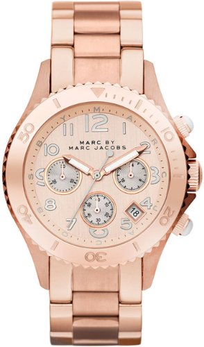 Marc Jacobs Rock Champagne Dial Chronograph Rose Gold Tone Stainless Steel Unisex Watch MBM3156