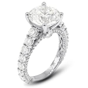 5.69 Carat Very Good Cut Round E-VS2 GIA Certified Diamond 18k Gold Accents Engagement Ring 5.41gr