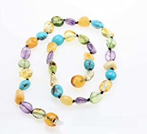 Baby Teething Necklace - Butterscotch and Lemon Baltic Sea Amber, Green Caribbean Amber, Natural Turquoise and Amethyst