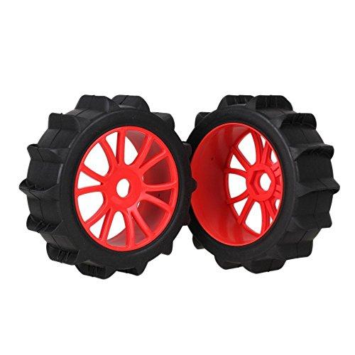 Youzone RC 1: 8 Off Road Car en caoutchouc noir Plage Tire & Rouge Plastique 12-Spoke Wheel Rim 17mm lecteur Hex (Pack de 4)