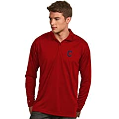 Cleveland Indians Long Sleeve Polo Shirt (Team Color) by Antigua