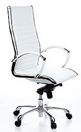 Hjh Office Parma 20 Siège de bureau type fauteuil de direction - Cuir véritable et fin - Crème Chromé