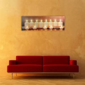 Stunning Candle LED Lit Picture - Large Linen Print on Wooden Frame by Headfrog Lighting