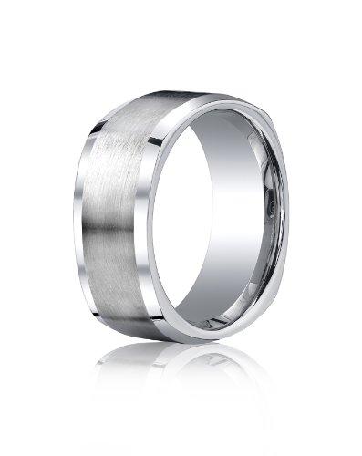 Cobalt Chrome, 9mm Comfort-Fit Satin-Finished Four-Sided Design Ring (sz 9.5)