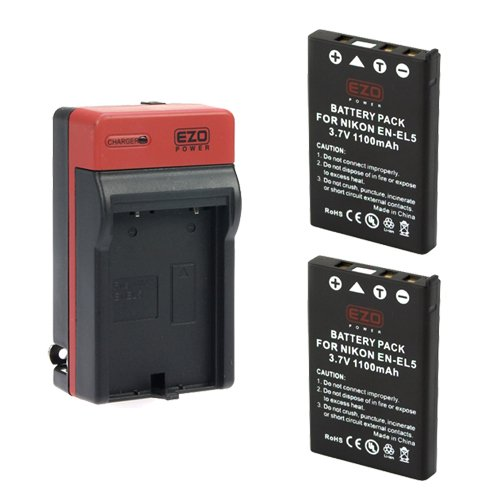 EZOPower 2x EN-EL5 Battery + Travel Charger with Car/EU Adapter for Nikon COOLPIX P520, P510, P500, P100, P90, P6000, P5100, P80, P5000 Digital Cameras
