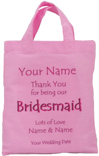 Personalised - BRIDESMAID - Pink Small Wedding Favour / Gift Bag