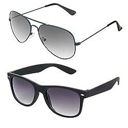 Rhodopsin UV Protected Blue Aviator and Black Wayfarer Sunglasses (Combo_Blue_Aviator_Black_Wayfarer)