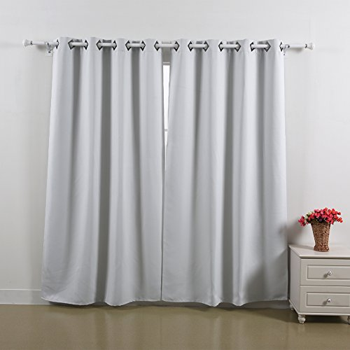 Deconovo Solid Thermal Insulated Window Blackout Curtain For Bedroom 52×63-1 Pair,Grey White
