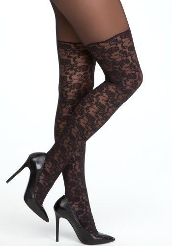 bebe Faux Lace Over The Knee Tight Accessories Blk-m/l