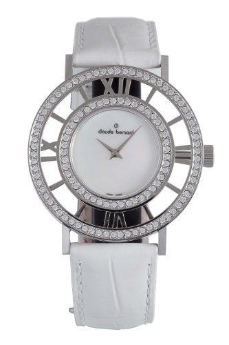 Claude Bernard Women's 20072 3PB NA Ladies Fashion Mother-of-Pearl Swarovski Ivory Leather Watch