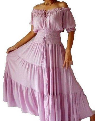 Lotustraders Dress Peasant Maxi Hippie Boho Smocked Waist A752 (5X, Lavendar)