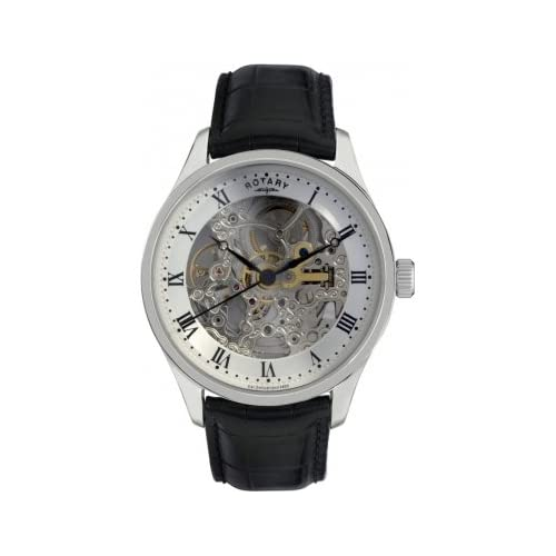 Rotary Men's Automatic Watch with Silver Dial Analogue Display and Black Leather Strap GS02518 06