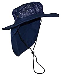 Wide Brim Men Safari/Outback Summer Hat With Neck Flap (Large, Navy)