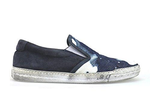 scarpe uomo DANIELE ALESSANDRINI 42 mocassini bianco blu camoscio tessuto AH446