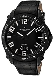 Jacques Lemans Men's GU333C Geneve Silver/Gold/Black Leather Watch